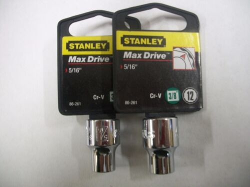 NEW STANLEY 3//8 in Drive  5//16 INCH  MAX DRIVE 12  POINT SOCKETS  TWO SOCKETS