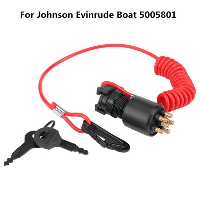 Safety Lanyard Ignition Key Switch for Johnson Boat 5005801 Ignition Key Switch