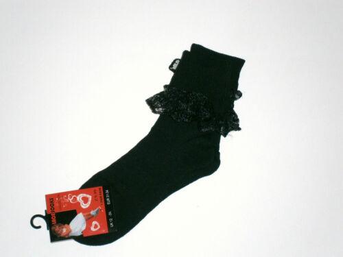 GIRLS-LADIES BLACK ANKLE SOCKS WITH LACE TRIM       004B