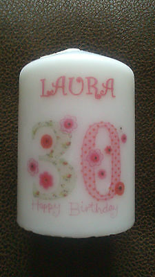 personalised 18th 21st 30th 40th 50th 60th 65th 70th 80th birthday gift candle