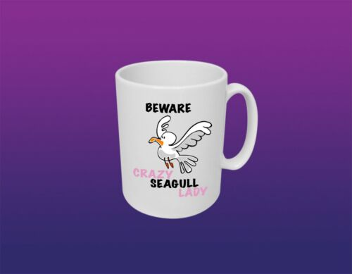 Personalised Beware of Crazy Seagull Lady Coffee Mug 11 oz Cup