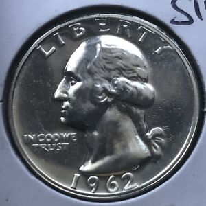 USA-1962-Washington-Quarter-Proof-PP-Sehr-Selten-Polierte-Platte-Silber