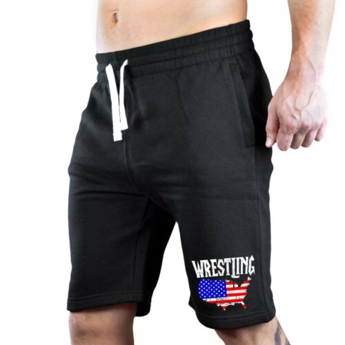 Men/'s Wrestling America Map Chest Fleece shorts sweatpants Jogger USA Flag MMA