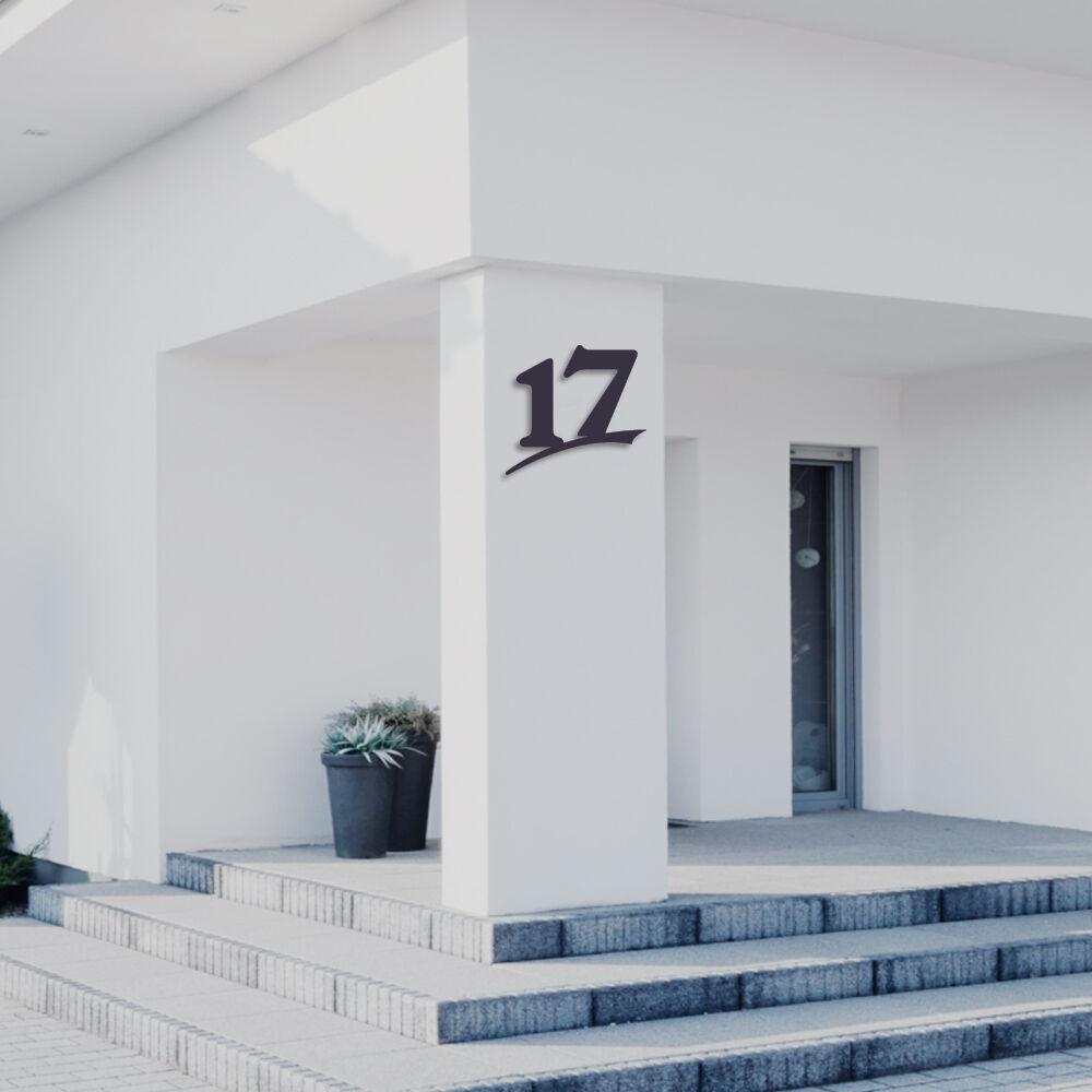 Hausnummer 17 aus Acrylglas,Farbe Anthrazitgrau,6mm stark,3D Nummer,von ALEZZIO®