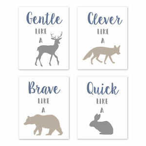 Details About Blue Grey Taupe Woodland Animals 4p Baby Boy Nursery Wall Art Prints Room Decor