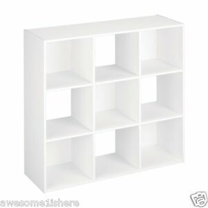 Image Is Loading White Storage Cube Shelves 9 Compartments Bookcase Cubby