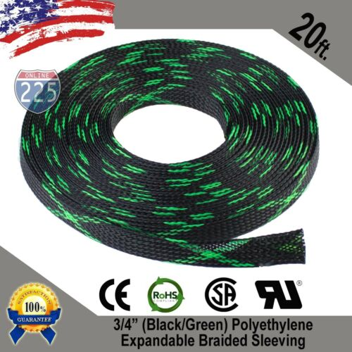 """20 FT 3//4/"""" Black Green Expandable Wire Sleeving Sheathing Braided Loom Tubing US"""