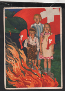 Switzerland-1930-Fete-Nationale-Red-Cross-postcard-uprated-WS13227