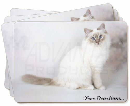Birman Cat 'Love You Mum' Picture Placemats in Gift Box, AC47lymP