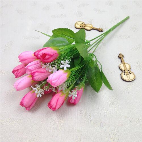 FaBukett 15 Köpfe Tulpe Künstliche Blumen Kunstseide Plastik Hochzeit Wohndeko