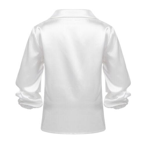 Kinderhemd Jungen Hemd Langarm Satin Tanz Shirt Oberteil für Latein Tango Rumba