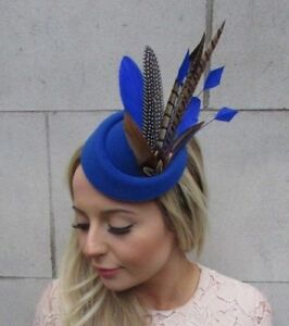 Image is loading Royal-Blue-Pheasant-Feather-Pillbox-Hat-Fascinator-Races- 7523749bd8f