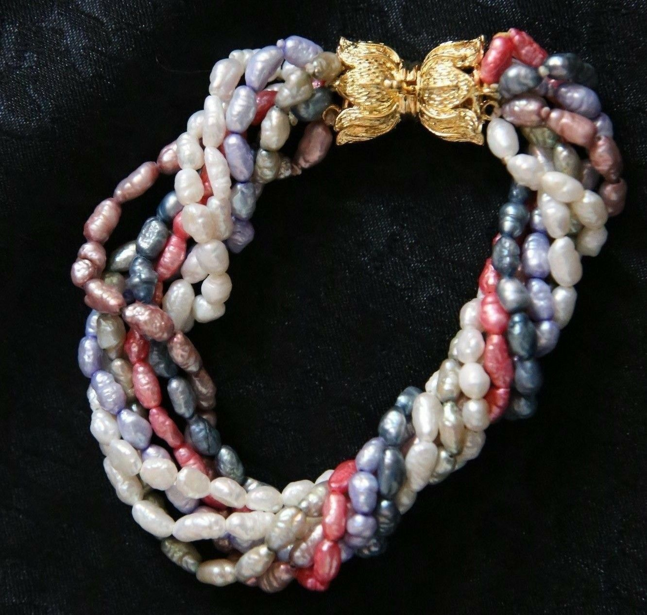 Fresh Water Pearl Bracelet with Seven Strands in Winter colors