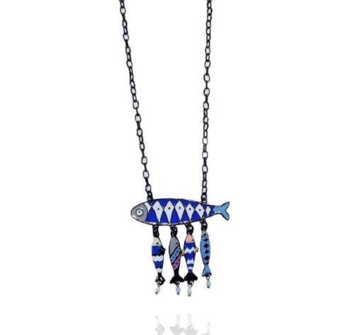 Collier Poissons Mosaïque Bleu Lol Bijoux