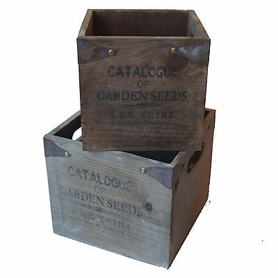 Vintage Rustic Shabby Chic Wooden Storage Boxes Crates - Garden Seeds - Set of 2