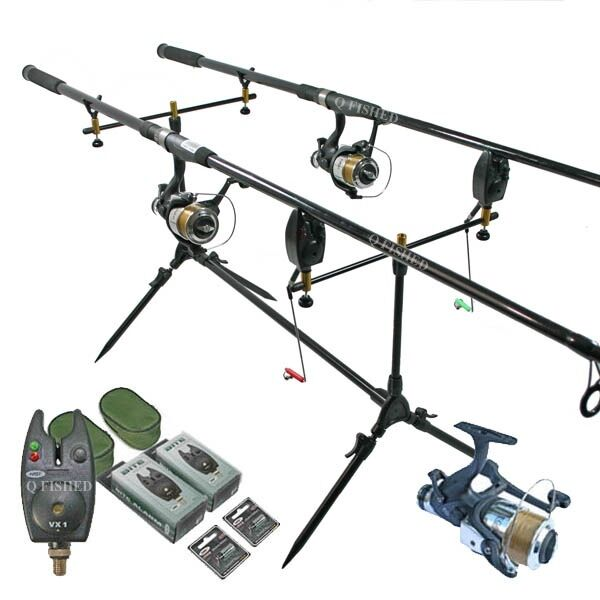 CARP FISHING SET 2 RODS 2 REELS 2 VX1 BITE ALARMS POD +3  INDICATORS NGT