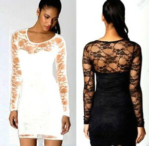 SEXY-WOMEN-LADIES-BLACK-FLORAL-LACE-LONG-SLEEVE-BODYCON-DRESS-TOP