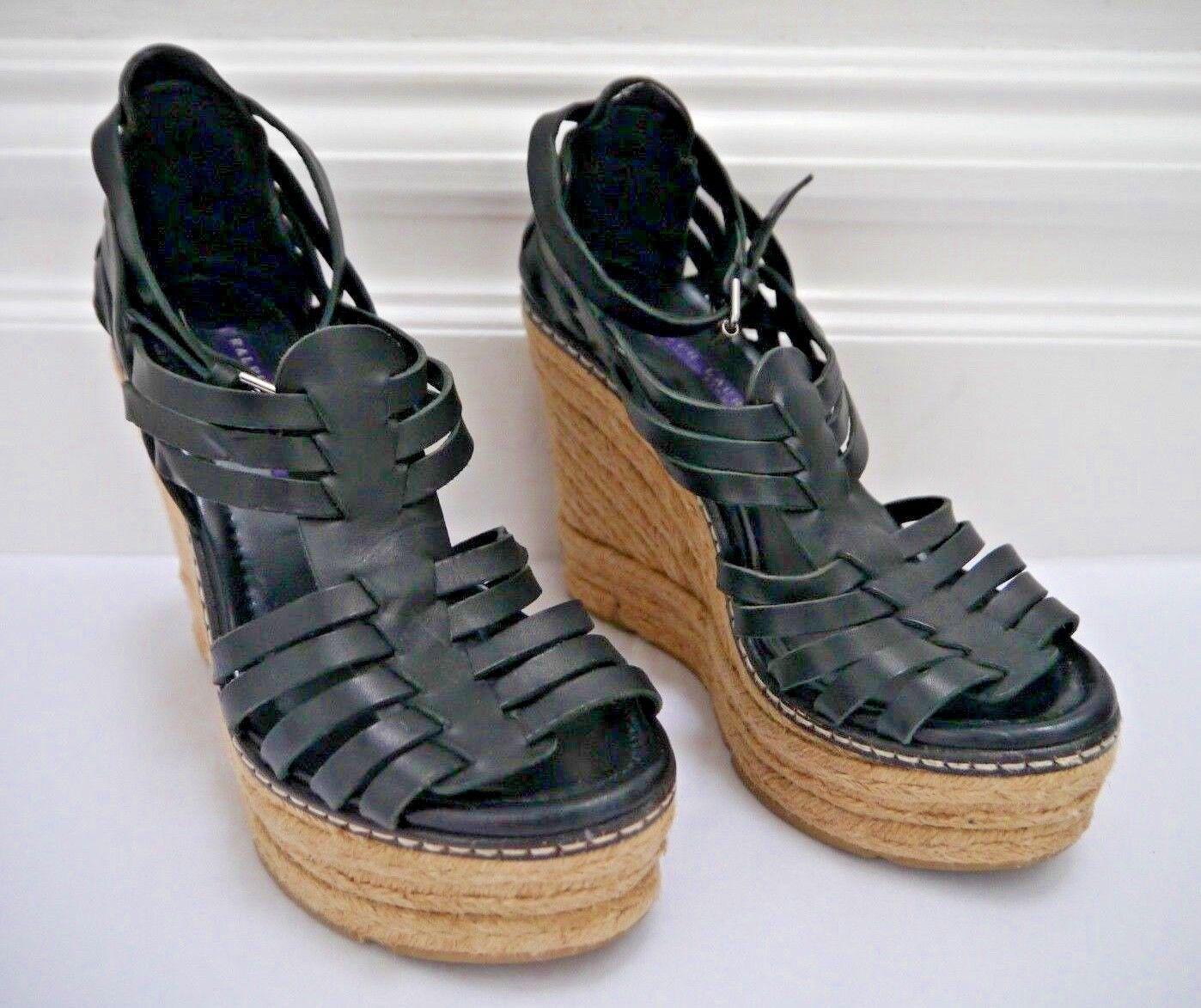 spedizione veloce e miglior servizio RALPH LAUREN COLLECTION viola Label nero leather espadrille wedge wedge wedge sandals 7  nuovo sadico