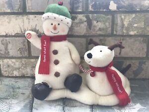 2004-Hallmark-Jingle-Pals-Plush-Snowman-amp-Barking-Dog-Animated-Jingle-Bells