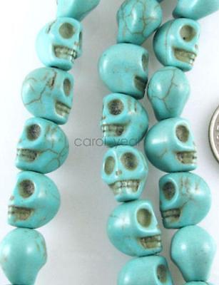 "fashion 15/"" Gemstone Beads-BLUE GREEN CANDY TURQUOISE SKULLS 10MMX12MM"