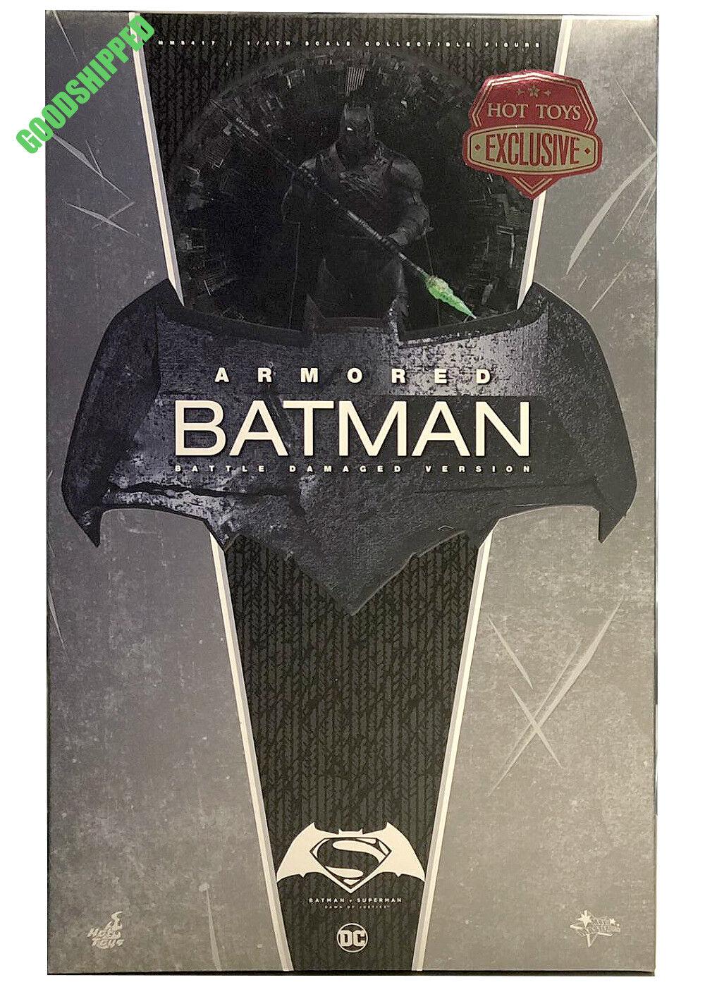 READY HOT TOYS BATMAN V SUPERMAN BVS ARMORED BATMAN BATTLE DAMAGED EXCLUSIVE 1 6