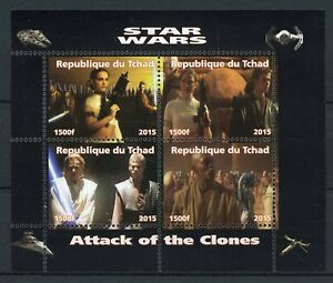 Chad-2015-MNH-Star-Wars-Attack-of-Clones-Anakin-Skywalker-Obi-Wan-4v-M-S-Stamps