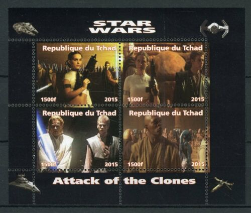 Chad 2015 MNH Star Wars Attack of Clones Anakin Skywalker Obi-Wan 4v M//S Stamps