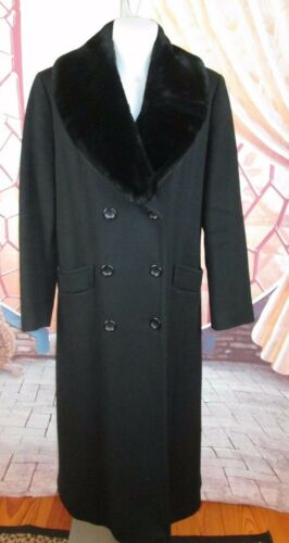 Uld Fur 8 Frakke Faux Levine Removable Sz Fuldlængde Collar Kvinders Sort Larry qTCRtaFwq