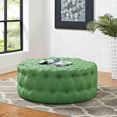 Pleasing Mid Century Design Round Ottoman In Kelly Green Button Tufted Fabric Ebay Bralicious Painted Fabric Chair Ideas Braliciousco