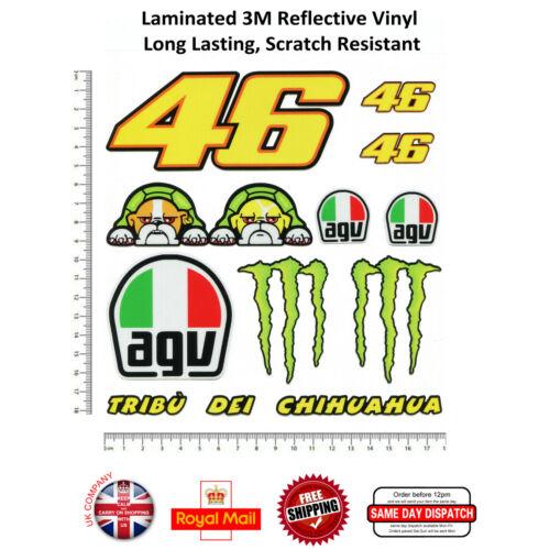 11pcs Valentino Rossi 46 Helmet Laminated 3M Reflective Decals Sticker Set
