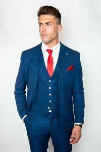 Homme Cavani Qualité Mariage Formel Beige Marine Tweed Tailored Fit 3 Pièce Costume-afficher Le Titre D'origine Remise En Ligne