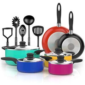 Vremi Vr0041 Nonstick Cookware Set Colored Kitchen Pots And Pans 15