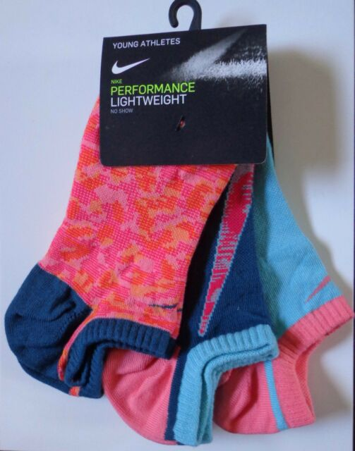 cd3740ca54 Nike Youth Performance Lightweight No Show Socks 3 Pack Size Medium 5Y-7Y