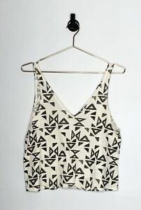Urban-Outfitters-Cropped-Tank-Top-Beige-With-Arrow-Detail-Size-Large-Womens
