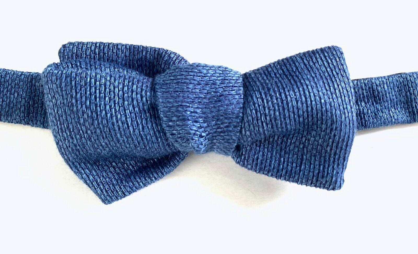 Hackett London Solid Brine Wool/Silk Bow Tie, Blue Heather, One Size