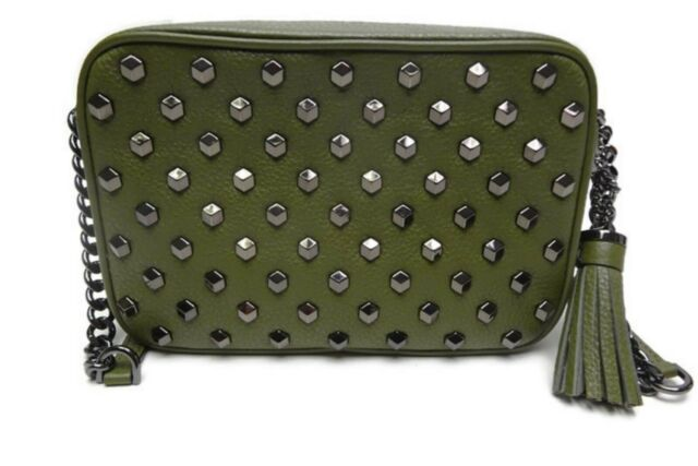 cfe955701a73 Michael Kors Ginny Medium Camera Bag Leather Grommet Crossbody Olive ...