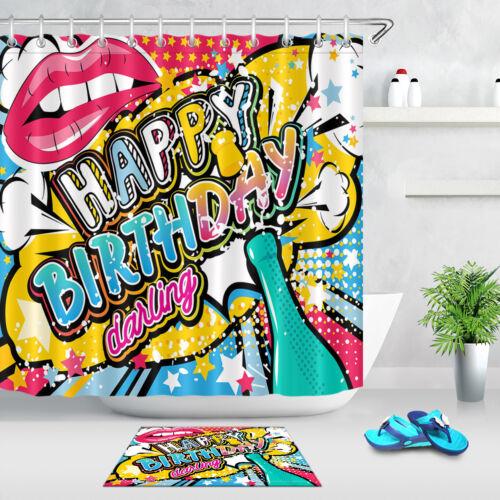 "71//79/"" Shower Curtain Bathroom Mat Decor Hook Happy Birthday Lip Stars Champagne"