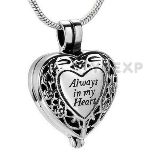 Always in My Heart Cremation Urn Necklace for Ashes,Memorial Keepsake Locket Ashes Urn Necklace