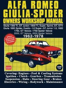 Alfa-Romeo-Giulia-amp-Spider-1962-1978-Owners-Workshop-Manual-Easy-to-Use-Fully