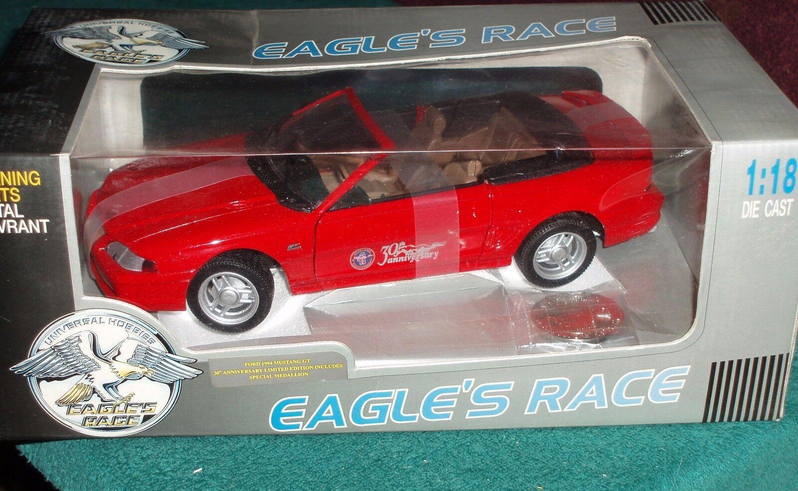 Adler ist race 1994 ford mustang gt conv 1   18. rot   blk zum 30. jahrestag der nib