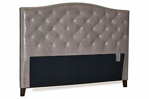 King Gray Leather, Diamond Tufted Headboard w/ Pewter Nail Head Trim for bedroom