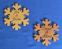 Personalized Couples Snowflake Ornament 1 - Hand Cut From Oak Or Basswood
