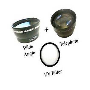 Breit Objektiv + Tele Objektiv + UV für Sony HDR-CX760 HDR-CX760E HDR-CX760VE HDR-PJ710