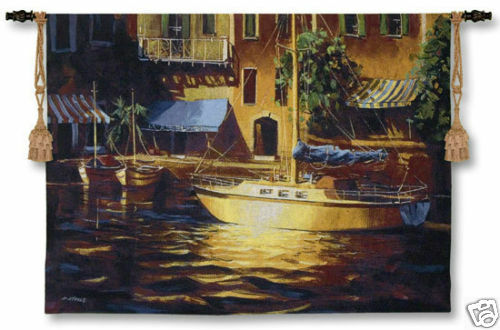 Port Of Call Nautical Scene Wall Tapestry Harbour View 38 x53