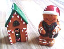 Ceramic Ginger Bread Man & House Christmas Salt & Pepper Shakers