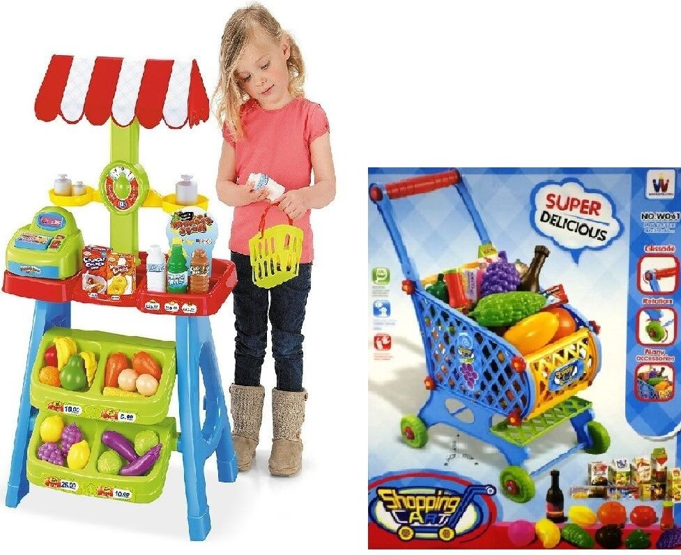 Kids Market Market Market Stall Toy Shop & Shopping Trolley & Play Food b40d06