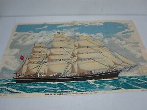 VINTAGE IRISH LINEN DISH TEA TOWEL with CUTTY SARK SHIP 30 3/4""