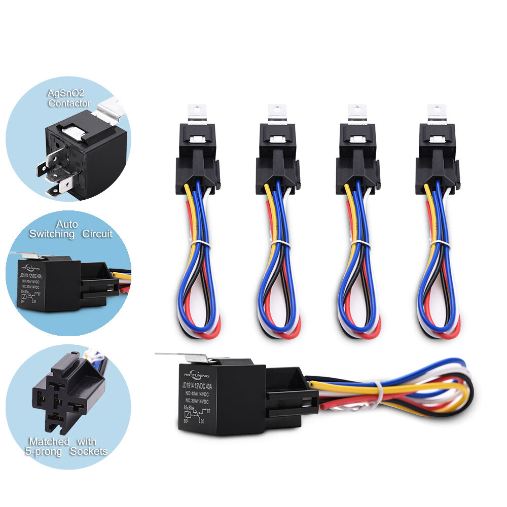 Mictuning 5x Automotive Relay 12v 30 40a 5 Prong Spdt W Wires 12 Volt Pin With Wire Socket Wiring Harness Ebay