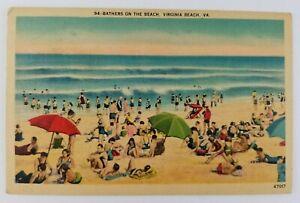 Postcard-Linen-Bathers-at-Virginia-Beach-Virginia-Ocean