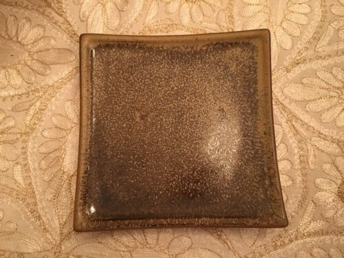 Brown Medium Ceramic Square Plate by Country Originals